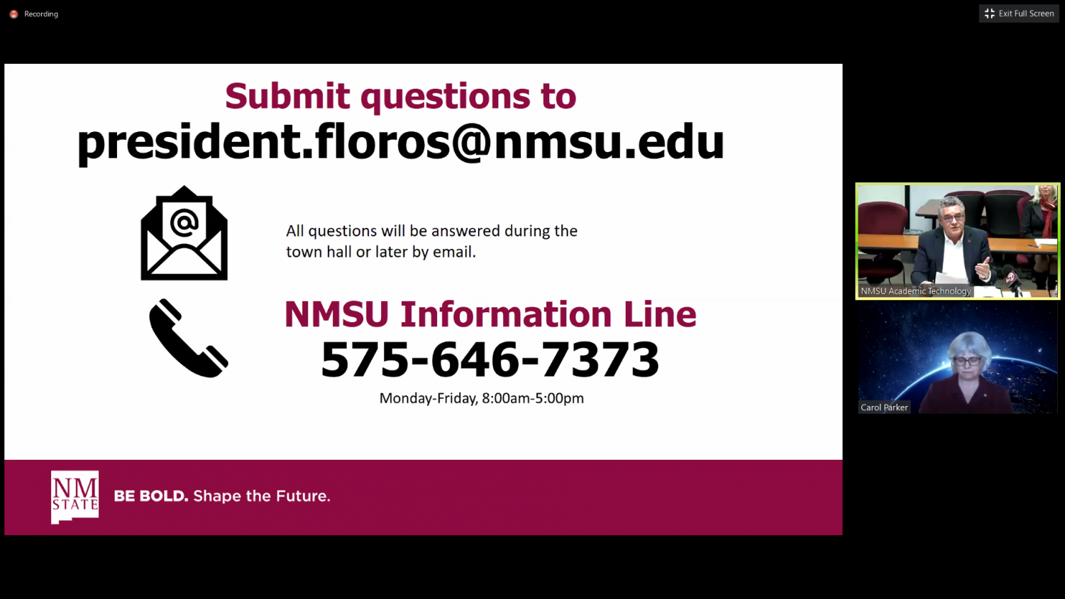 Nmsu Leaders Address Covid 19 Questions During Virtual Townhall