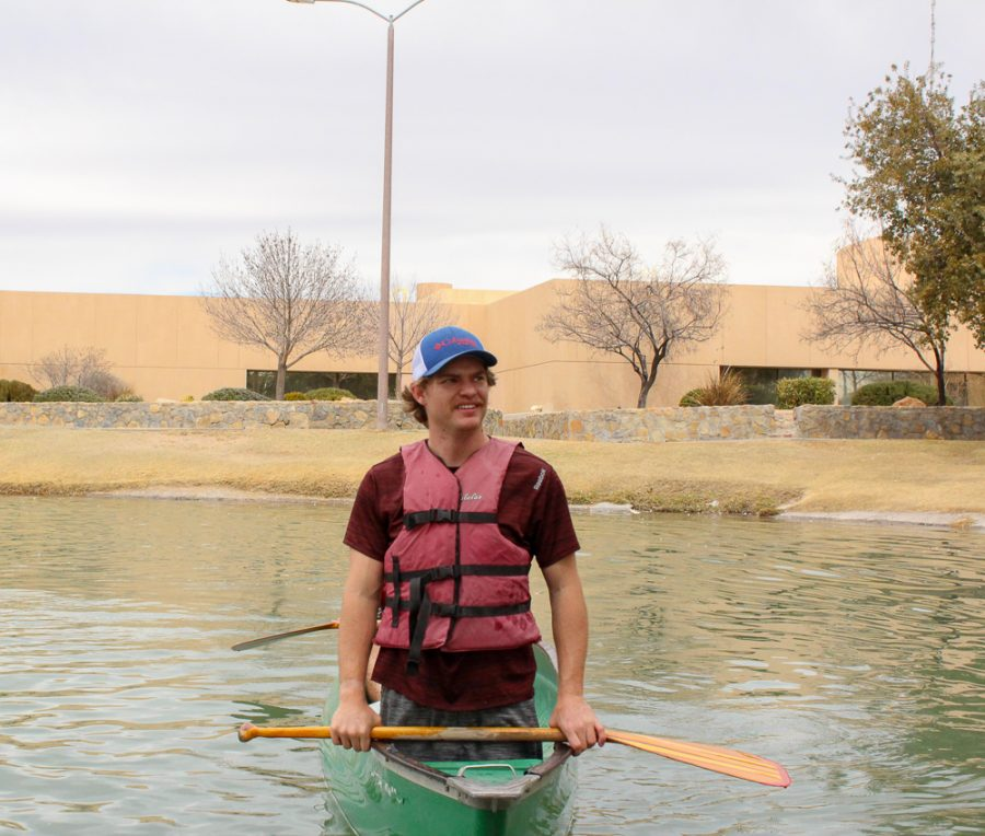 Team Captain Carson Casey in the middle of his canoe training.