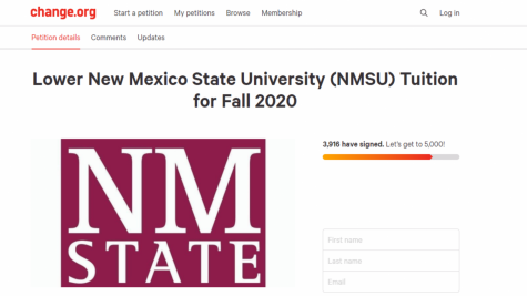 NMSU student Alexandra Wylie creates petition to lower tuition.