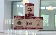 COVID-19 guidelines posted in Corbett Center Student Union