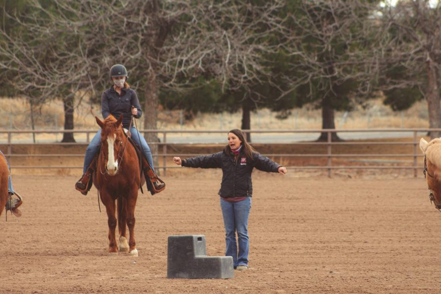 NMSUs Equestrian team coach Hannah Swarthout teaches her riders a few things before practice.
