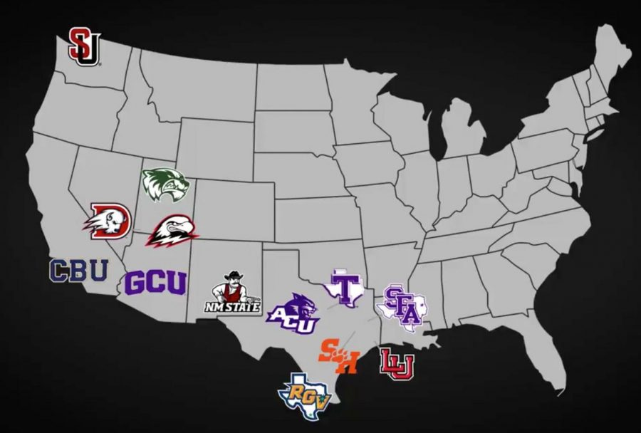 The new map of the WAC following the announced addition of Southern Utah, Abilene Christian, Lamar, Sam Houston State and Stephen F. Austin State beginning in 2022 (per KTSM 9 Sports).