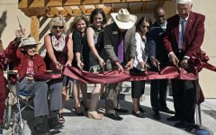 10/26/2017: Herb Zuhl, far left, and New Mexico State University Chancellor Garrey Carruthers, far right, lead the ribbon cutting ceremony during the reopening of Zuhl Museum which was recently renovated and expanded. (NMSU photo by Andres Leighton)