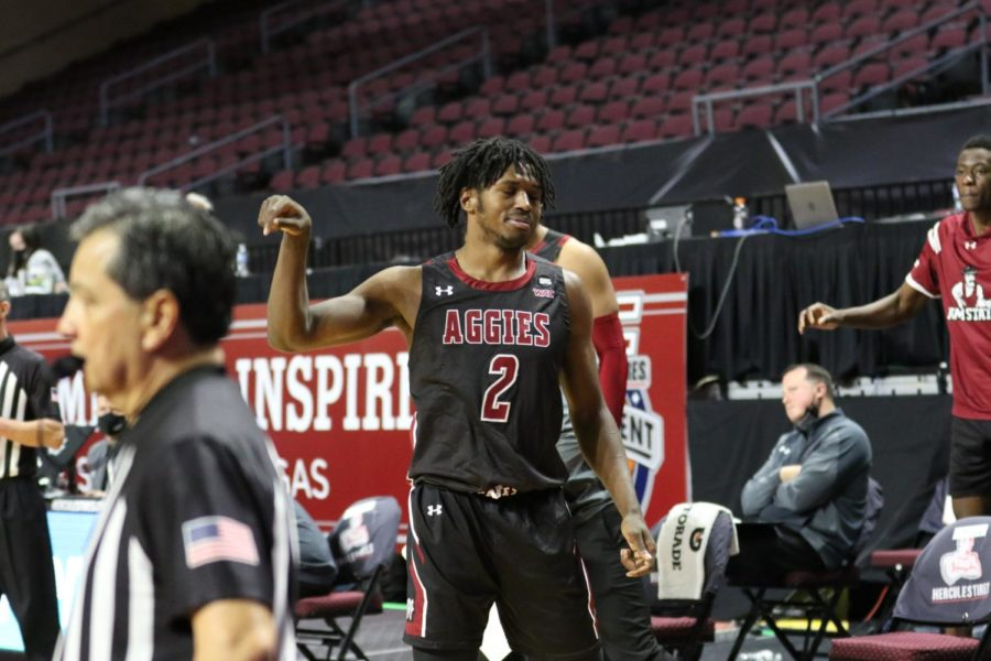 Donny Tillman scores his season high in the Aggies' win over UVU to propel them into the conference tournament championship. (Photo courtesy of NMSU Athletics)