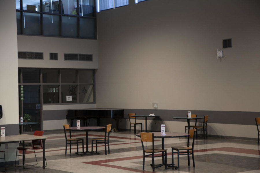 Although there are signals of life returning to normal at NMSU, some reminders remain of the COVID-19 pandemic, such as an empty Aggie Lounge during a time where it would normally be busy.
