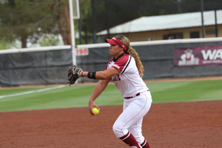 Matalasi Faapito allows just two runners to reach bases in her no-hitter Friday afternoon.  (Photo courtesy of NMSU Athletics)