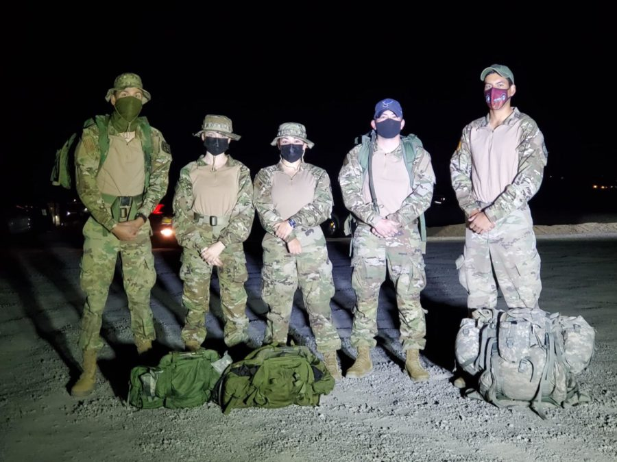 NMSU ROTC cadets who participated in the first virtual Bataan Memorial Death March are pictured.