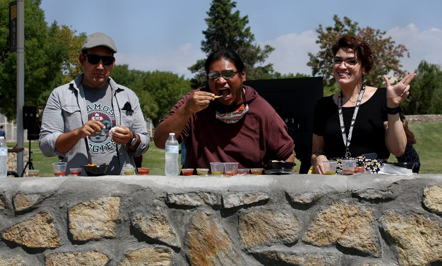 From right to left: Sergio Madrid, president of Graduate School Council; Michael Ray, Director of American Indian Programs; Liz Vigil, Family Outreach Specialist